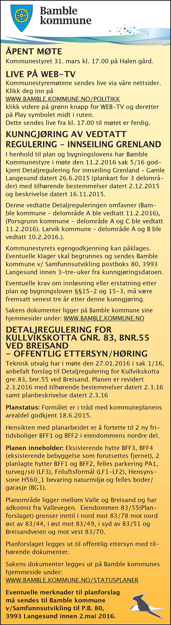 kunngjøringer bamble kommune